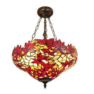(EU Lager)Tiffanystil Hängeleuchte Ahornblätter Design Glas Schirm im Wohnzimmer