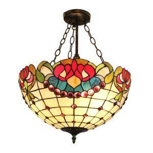 (EU Lager)Wunderschöne Hängeleuchte Tiffany Stil Glas Schirm im Esszimmer