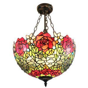 (EU Lager)Bunte Hängeleuchte Tiffany Stil Floral Design Glas Schirm in 40cm Durchmesser