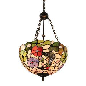(EU Lager)Tiffanystil Hängeleuchte Floral Design Glas Schirm in 40cm Durchmesser in Küche