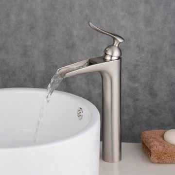(EU Lager)Einhand Waschtischarmatur Wasserfall Nickel Gebürstet