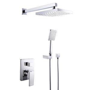 (EU Lager)Moderne Duschsystem Chrom Wandmontage Unterputz mit Handbrause