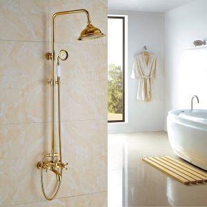(EU Lager)Duscharmatur Wandmontage Regenfall mit Handbrause Gold