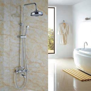 (EU Lager)Moderne Duscharmatur Chrom Regenfall mit Handbrause