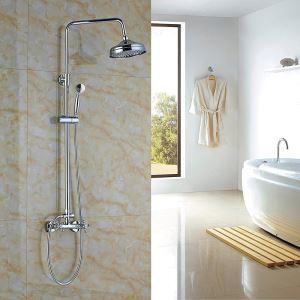 (EU Lager)Moderne Duscharmatur Wandmontage Chrom Regenfall mit Handbrause