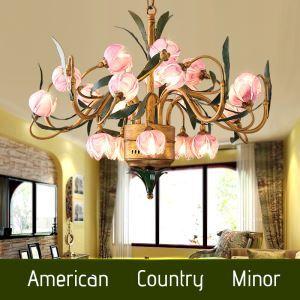Wunderschöne Led Hängeleuchte im Florentiner Stil Seerosen Design aus Glas Eisen 20-Flammig