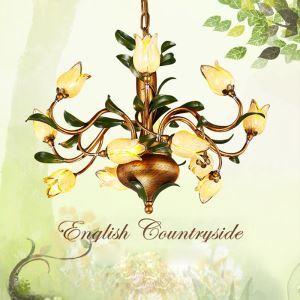 (EU Lager)Led Pendelleuchte im Florentiner Stil Glas Tulpen Design 12-flammig