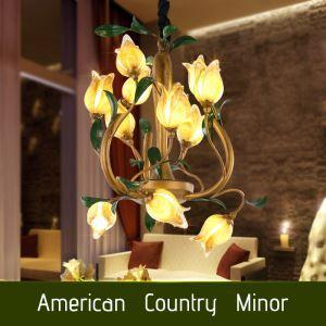 (EU Lager)Florentiner Hängeleuchte Led Glas Tulpen Design 12-flammgi