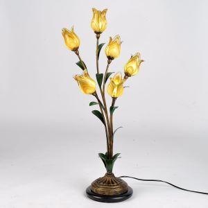 Bezaubernde Tischleuchte Led Glas Tulpen Design 6-flammig