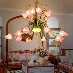 Künstlerische Deckenleuchte Led im Florentiner Stil Glas Tulpen Design 20-flammig