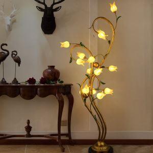 (EU Lager)Led Stehleuchte Florentiner Glas Tulpen Design 15-flammig