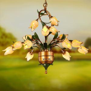 Florentiner Hängeleuchte Led Glas Tulpen Design 15-flammig
