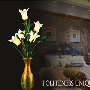 Led Tischleuchte Glas Lilien Blumenvase Design 5-flammig