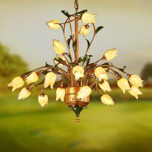 Reizende Pendelleuchte Led Florentiner Glas Tulpen Design 21-flammig