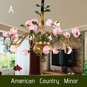 Ansprechende Hängeleuchte Led im Florentiner Stil Glas Tulpen/Seerosen/Lilien Design 20-flammig