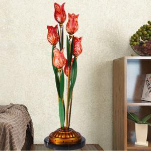 (EU Lager)Led Tischlampe Florentiner Glas Tulpen Design Rot 6-flammit