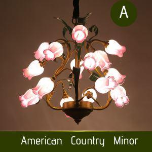 (EU Lager)Stilvolle Pendelleuchte Led im Florentiner Stil Glas Rose Design 15-flammig