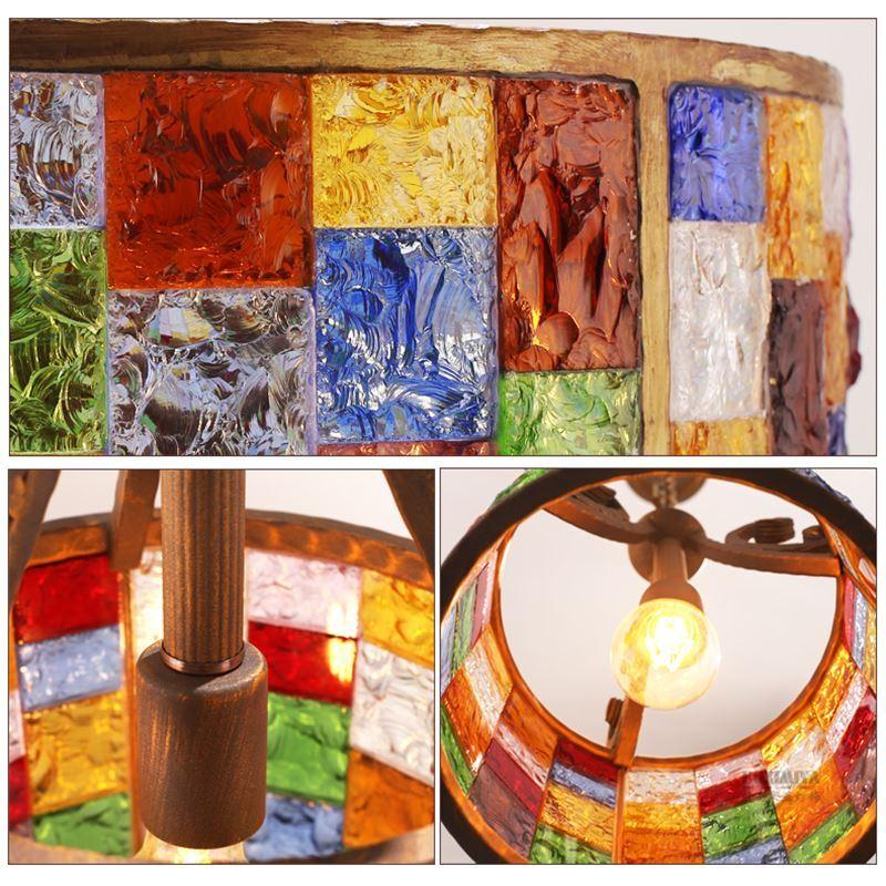 attraktive h ngeleuchte aus buntes glas eisen 3 flammig. Black Bedroom Furniture Sets. Home Design Ideas