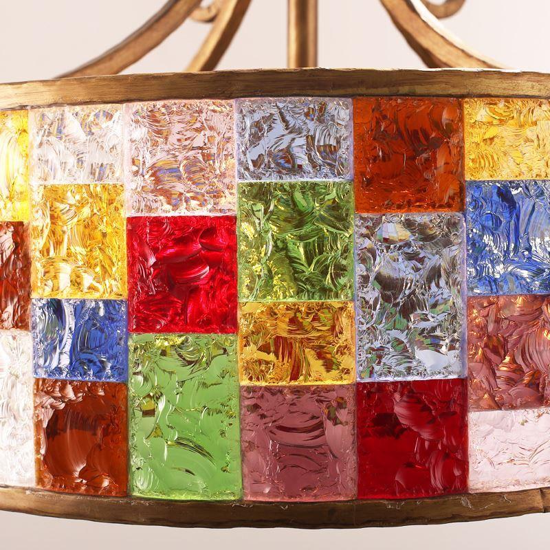 rustikale h ngeleuchte aus buntes glas eisen 1 flammig durchmesse 25cm. Black Bedroom Furniture Sets. Home Design Ideas