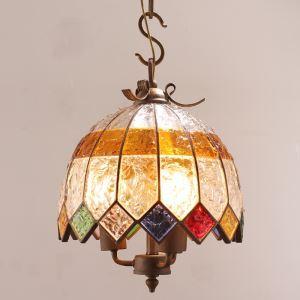 (EU Lager)Stilvolle Pendelleuchte Buntes Glas Eisen 2-flammig im Wohnzimmer