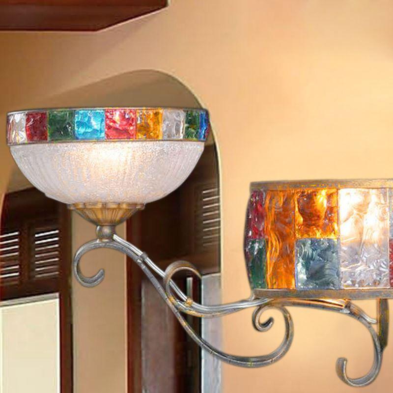retro wandleuchte aus buntes glas eisen 2 flammig im flur. Black Bedroom Furniture Sets. Home Design Ideas