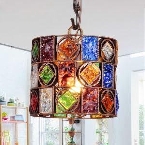 (EU Lager)Entzückende Hängeleuchte Buntes Glas Eisen 1-flammig im Schlafzimmer