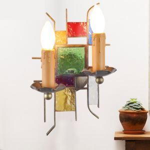 (EU Lager)Wandleuchte aus Buntes Glas Eisen Kerzen Design 2-flammig