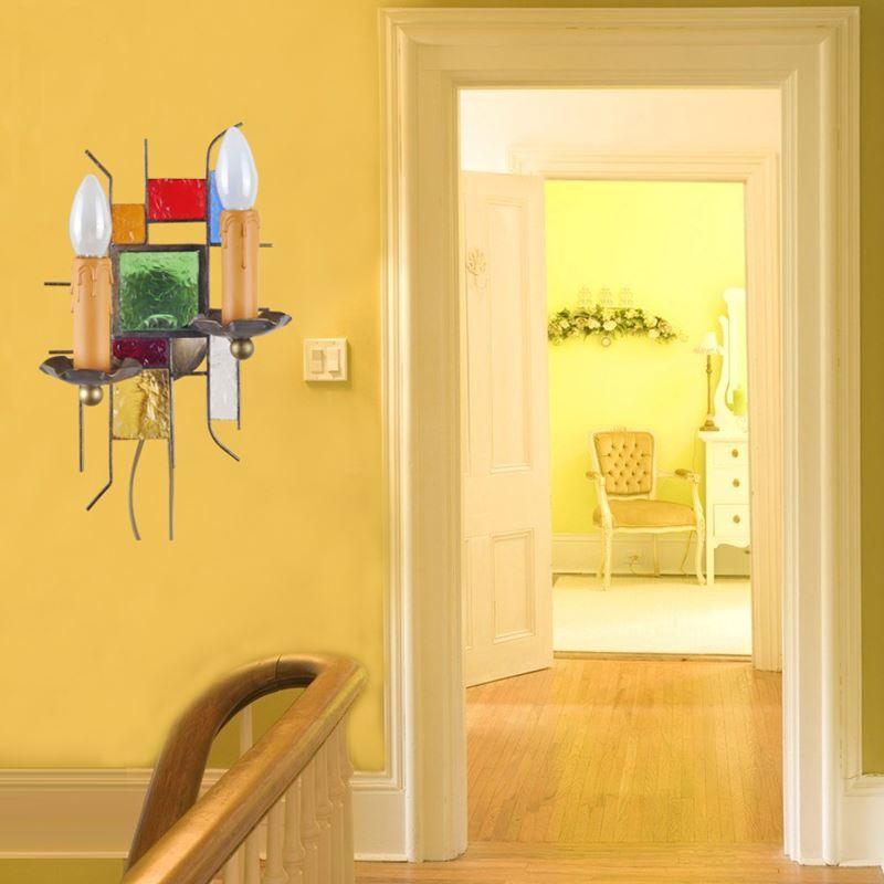 wandleuchte aus buntes glas eisen kerzen design 2 flammig. Black Bedroom Furniture Sets. Home Design Ideas