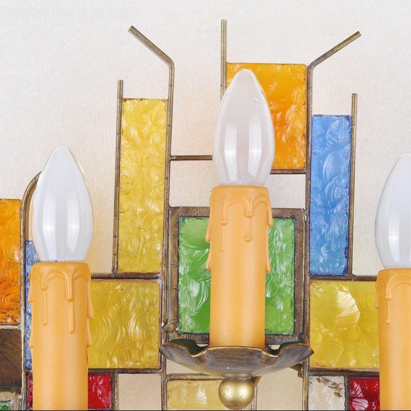 ansprechende wandleuchte buntes glas kerzen design 5 flammig. Black Bedroom Furniture Sets. Home Design Ideas