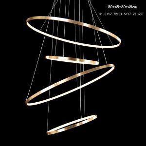 (EU Lager)Led Hängeleuchte Modern Ring Design aus Aluminium Gold 80+45+80+45cm