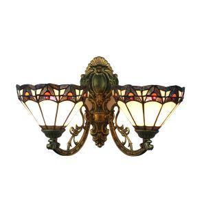 (EU Lager)Formschöne Wandleuchte Tiffany Stil D20cm 2-flammig im Flur
