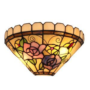 (EU Lager)D30cm Tiffany Wandleuchte Floral Schmetterling Design 1-flammig im Flur