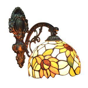(EU Lager)Klassische Wandleuchte Tiffany Stil D20cm 1-flammig im Schlafzimmer