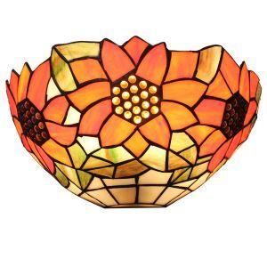 (EU Lager)Tiffany Wandleuchte Sonneblume Design D30cm 1-flammig im Schlafzimmer