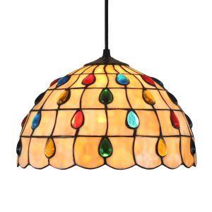 (EU Lager)Tiffany Hängeleuchte Bunte Tropfen Design 1-flammig im Wohnzimmer