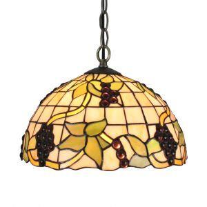 (EU Lager)D30cm Tiffany Hängeleuchte Weintraube Design 1-flammig im Wohnzimmer