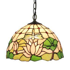 (EU Lager)D30cm Tiffany Pendelleuchte Libellen&Seerose Design 1-flammig