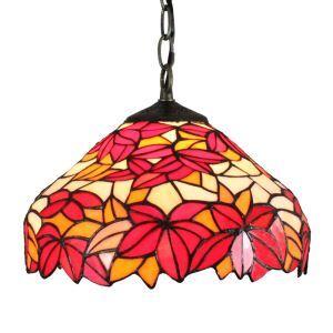 (EU Lager)D30cm Tiffany Pendelleuchte Rote Ahornblätter Design 1-flammig