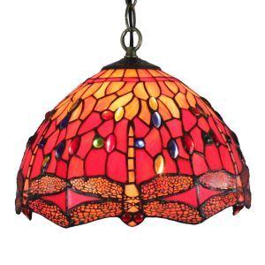 (EU Lager)Tiffany Pendelleuchte Rote Libellen Design D30cm 1-flammig