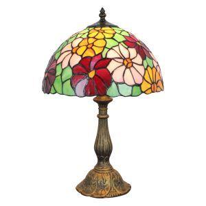 (EU Lager)D30cm Tiffany Tischlampe Bunte Blumen Design 1-flammig im Schlafzimmer