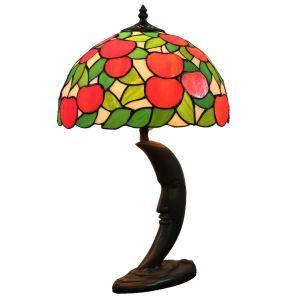 (EU Lager)D30cm Tiffany Tischleuchte Rote Apfel Halbmond Design 1-flammig