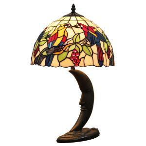 (EU Lager)D30cm Tiffany Tischleuchte Papagei Design 1-flammig im Schlafzimmer