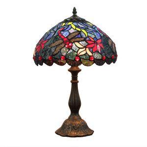 (EU Lager)D30cm Tiffany Tischleuchte Libellen Design 1-flammig im Schlafzimmer