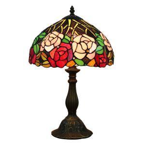 (EU Lager)D30cm Tiffany Tischleuchte Rote Blumen Design 1-flammig im Schlafzimmer