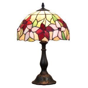 (EU Lager)Floral Vermusterte Tischleuchte Tiffany Stil D30cm 1-flammig im Schlafzimmer