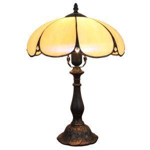 (EU Lager)D30cm Blumige Tischleuchte Tiffany Stil 1-flammig im Schlafzimmer
