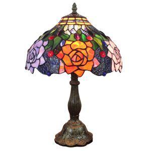 (EU Lager)Schöne Tischleuchte Tiffany Stil D30cm Bunte Rosen Design 1-flammig