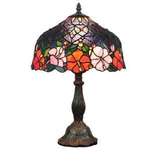 (EU Lager)Formschöne Tischleuchte Tiffany Stil D30cm Bunte Blumen Design 1-flammig