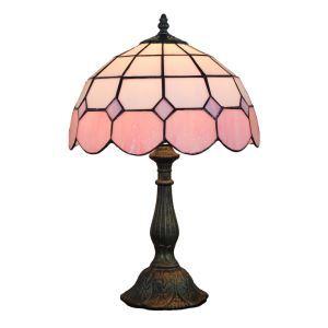 (EU Lager)D30cm Tiffany Tischleuchte Pink Rand 1-flammig im Schlafzimmer