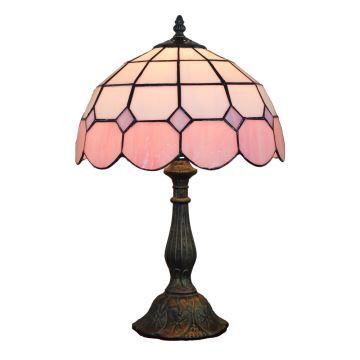 D30cm Tiffany Tischleuchte Pink Rand 1-flammig im Schlafzimmer
